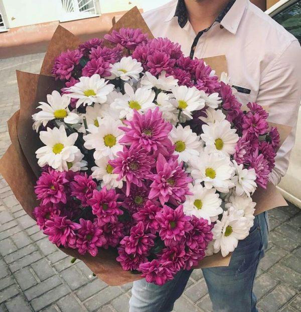 Букет хризантем розовый+белый