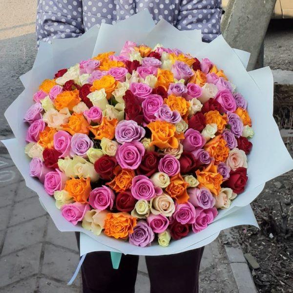 101 роза микс 50 см
