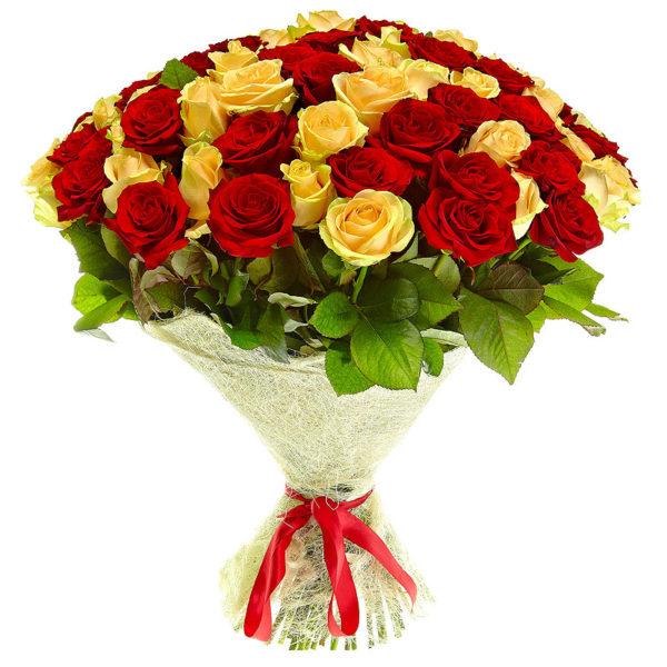 Букет 51 роза красная+желтая 60 см