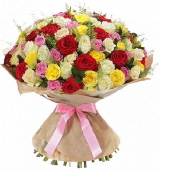 Букет 101 роза микс 80 см