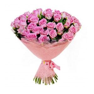 Букет 51 роза розовая 60 см