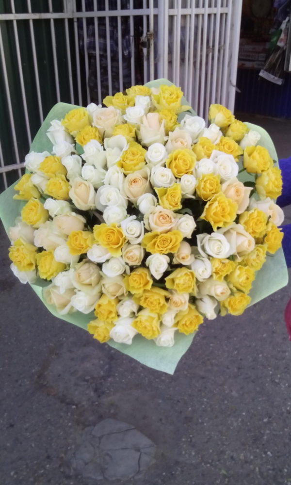 101 роза белая + желтая