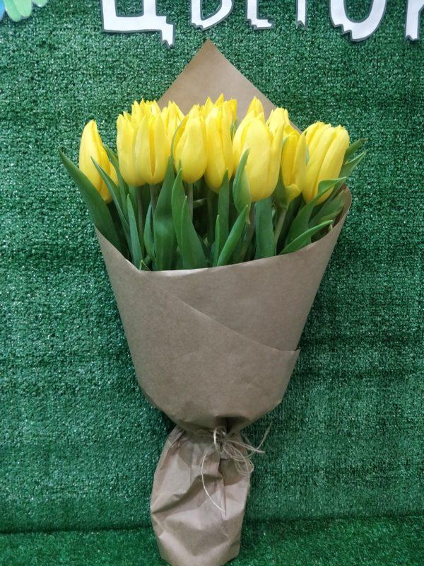 Букет тюльпанов желтых 25 шт