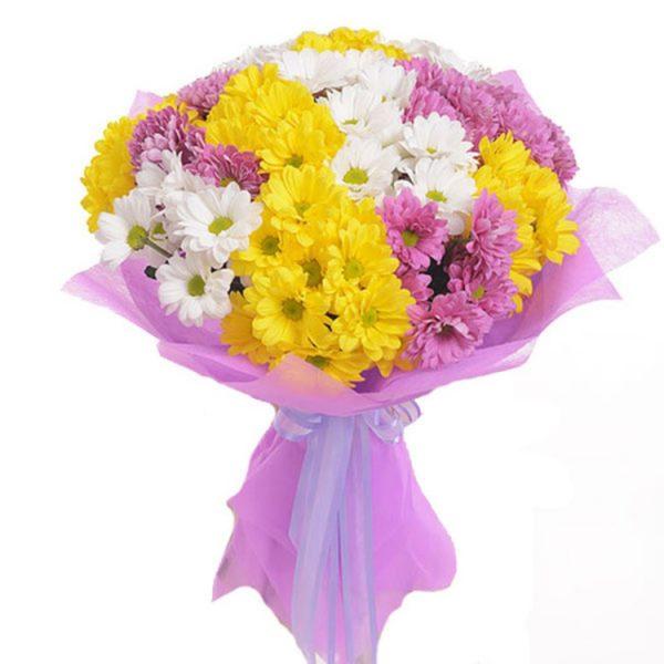 Букет хризантем розовый+белый 21 шт