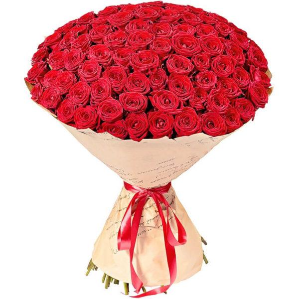 101 красная роза высотой 80 см