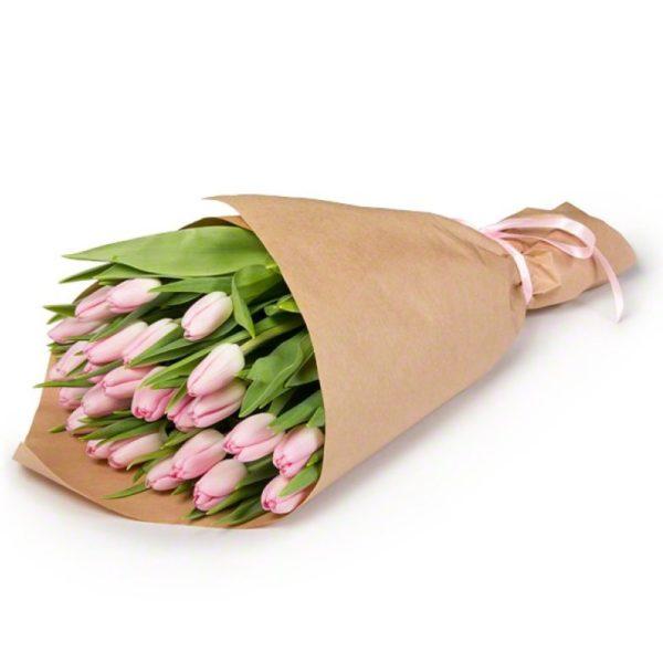 Букет тюльпанов розовых 19 шт