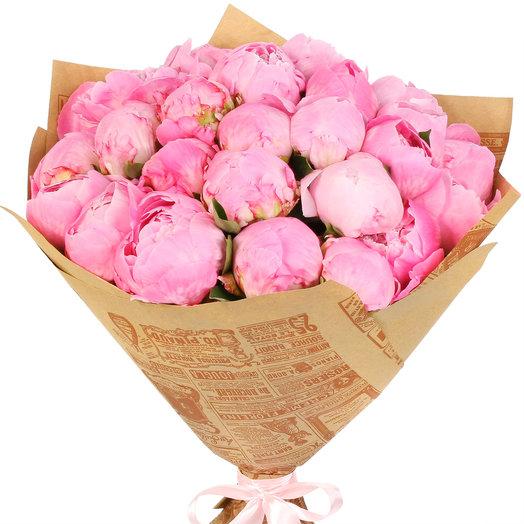 Букет пионов 25 шт розовых