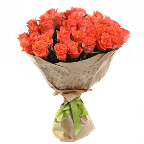 Букет 25 оранжевых роз